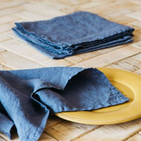 Set of Four Aegean Blue Lined Napkins