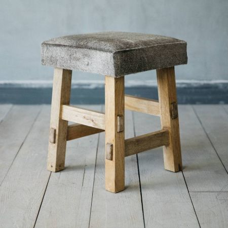 Grey Cowhide Square Stool