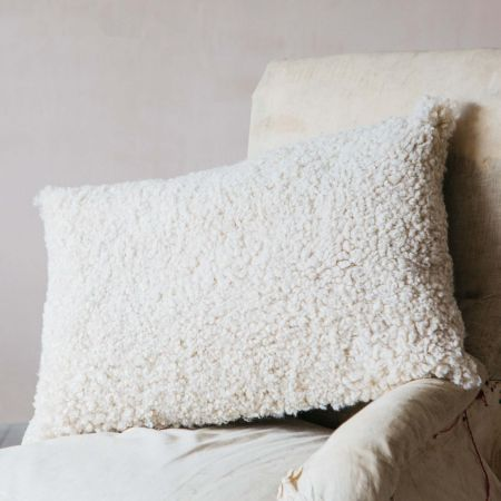 Eggshell Curly Sheepskin Rectangular Cushion