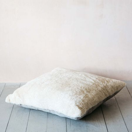 Eggshell Curly Sheepskin Floor Cushion