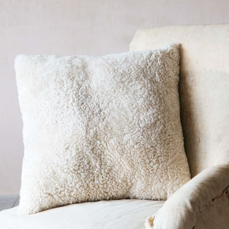 Eggshell Curly Sheepskin Square Cushion