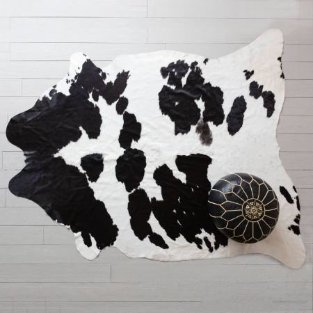 Large Black and White Cowhide Rug
