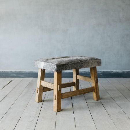 Grey Cowhide Rectangular Stool