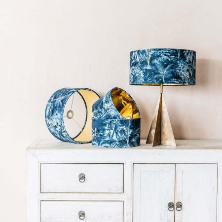 Indigo Palm Velvet Lamp Shades