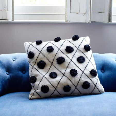 White Pom Pom Cushion - Thumbnail
