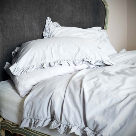 Siena Silver Grey Ruffle King Size Bed Linen