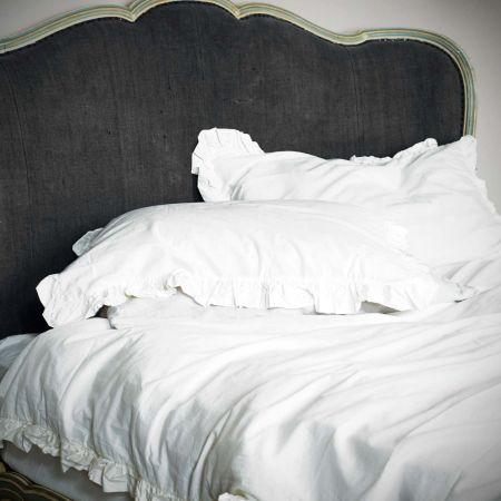 Siena White Ruffle Linen Duvet Cover