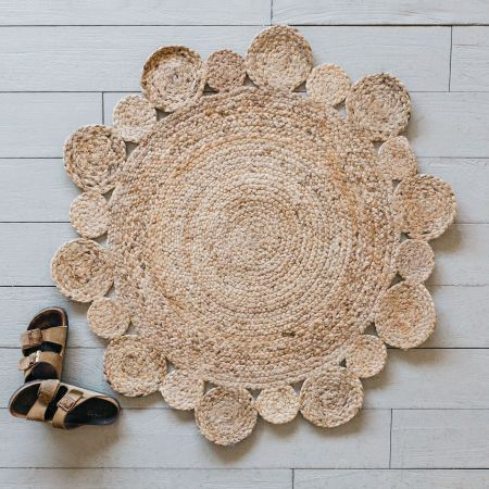 Small Round Natural Jute Rug