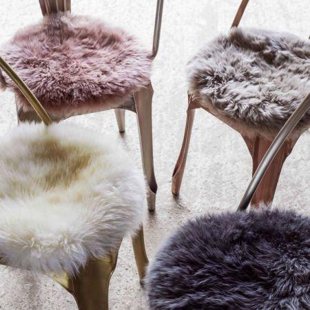 Round Rose Sheepskin Seat Pad