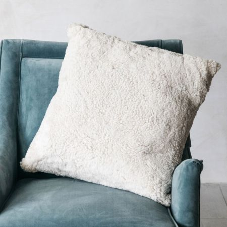 Curly Sheepskin Square Cushions - Thumbnail