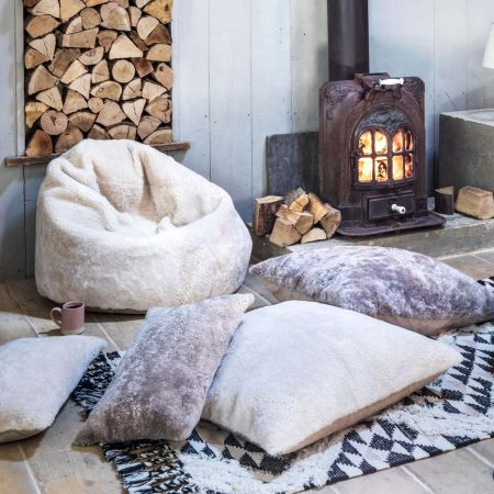Curly Sheepskin Floor Cushions