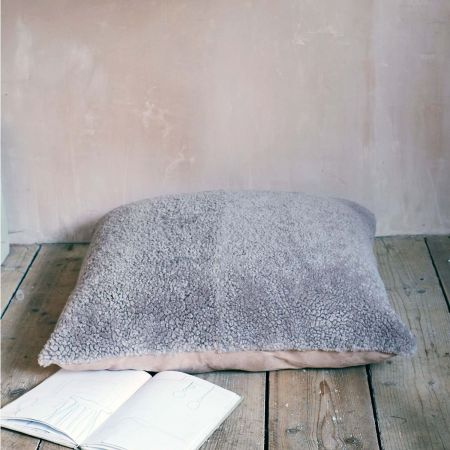 Taupe Curly Sheepskin Floor Cushion
