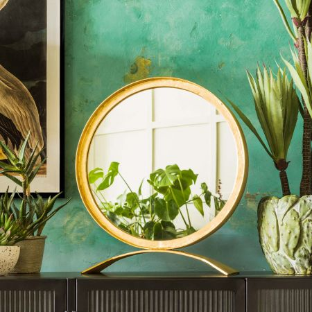 Zandar Small Gold Table Mirror