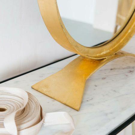 Zandar Small Gold Table Mirror