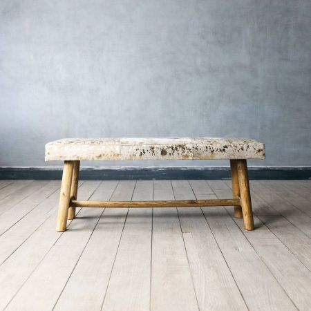 Gold and White Cowhide Bench