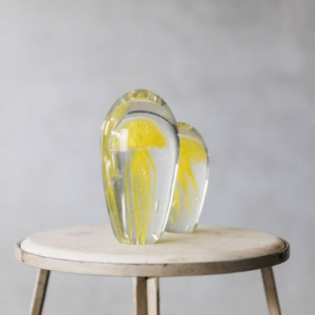 Blown Glass Yellow Jellyfish Paperweights - Thumbnail