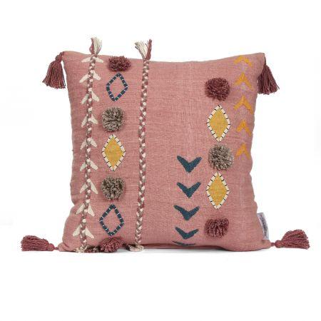 Jaz Two Stripe Square Cushion with Pom Poms