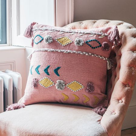Jaz Two Stripe Square Cushion with Pom Poms