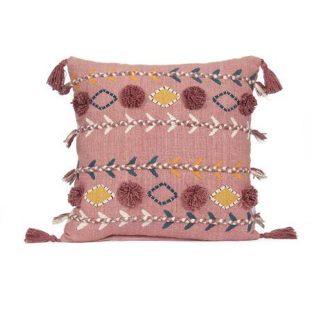 Jaz Three Stripe Square Cushion with Pom Poms