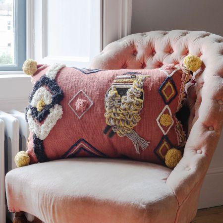 Jaz Rectangular Bird Cushion with Pompoms