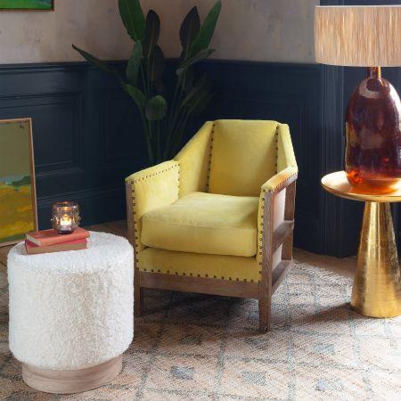 Hoxton Mustard Corduroy Armchair