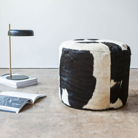 Round Black and White Cowhide Pouffe