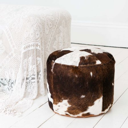 Round Brown and White Cowhide Pouffe