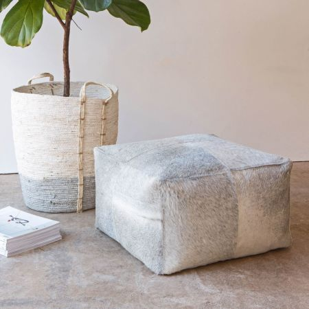Square Grey Cowhide Pouffe