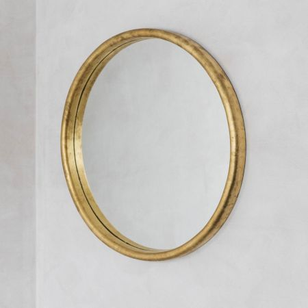 Large Round Gold Foil Mirror
