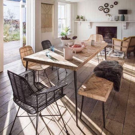 Amaliah Chevron Dining Table & Bench