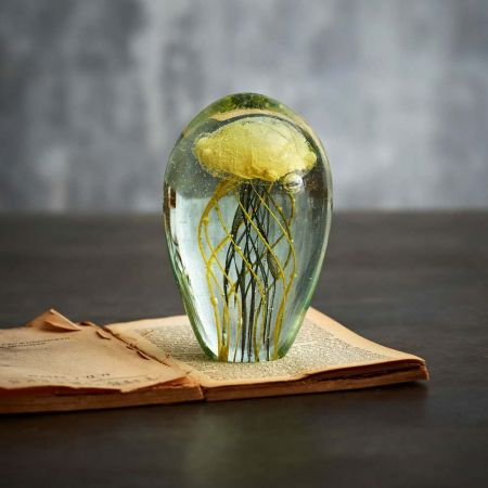 Blown Glass Yellow And Green Jellyfish Paperweight