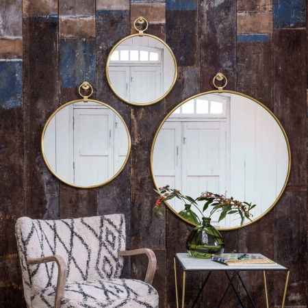 Medium Antiqued Gold Pendant Mirror