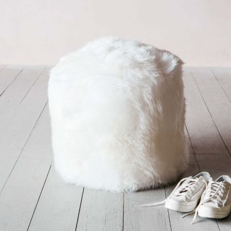 Ivory Sheepskin Footstool