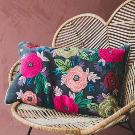 Rectangular Floral Embroidered Velvet Cushion