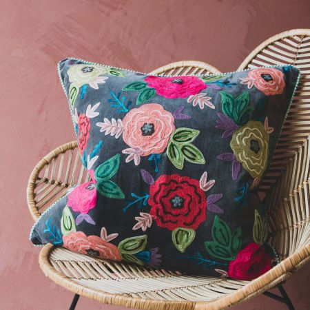 Large Floral Embroidered Velvet Cushion