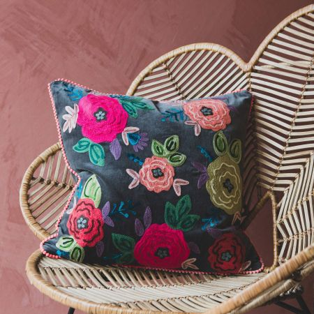 Medium Floral Embroidered Velvet Cushion