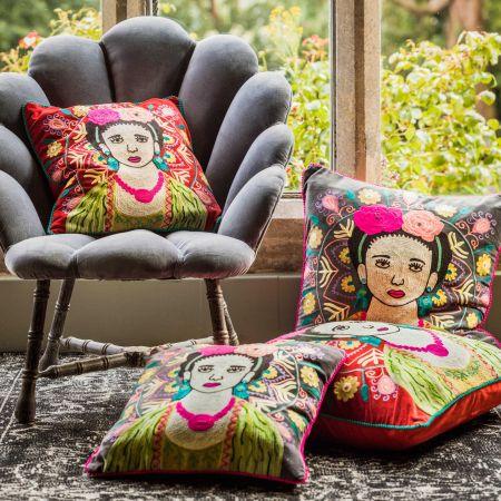 Large Carnelian Velvet Mexicana Cushion