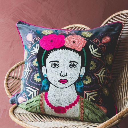 Large Grey Velvet Mexicana Cushion