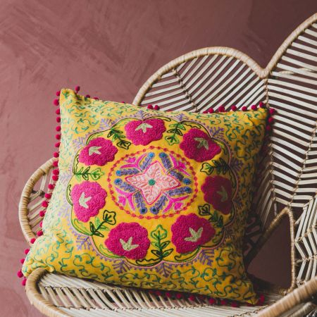 Medium Mustard Yellow Velvet Boho Cushion