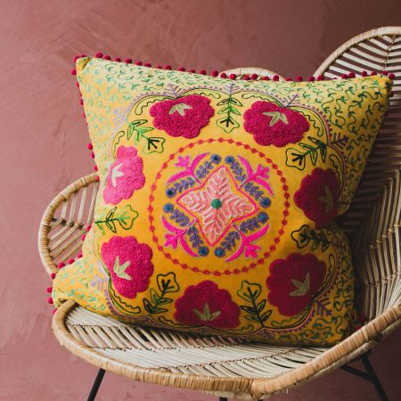 Large Mustard Yellow Velvet Boho Cushion