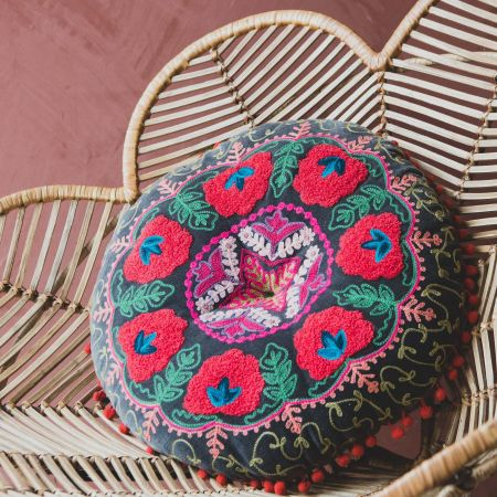 Round Grey Velvet Boho Cushion