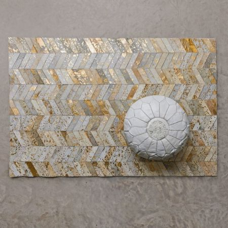 Gold Chevron Cowhide Rugs - Thumbnail