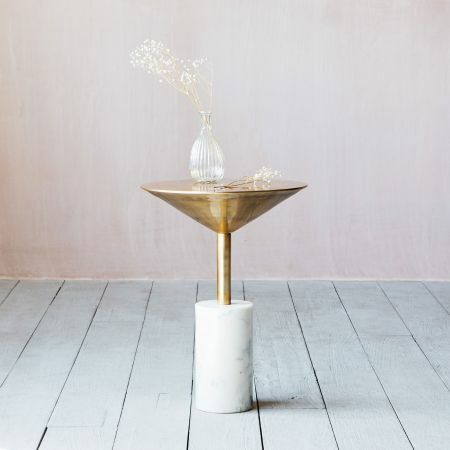 Mildred Gold and Marble Side Table