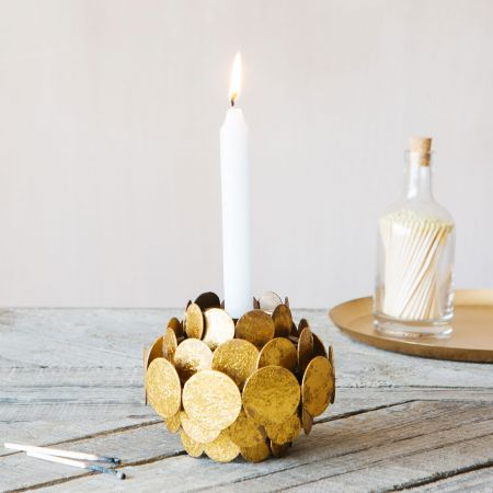 Gold Circles Candle Holder