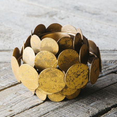 Gold Circles Tea Light Holder