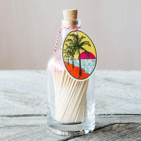 Sunset Palm Glass Bottle Matches