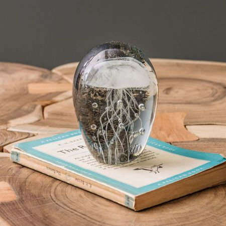 Blown Glass White Jellyfish Paperweight