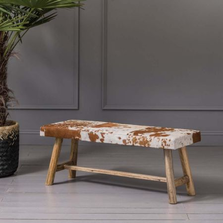 Tan and White Cowhide Bench