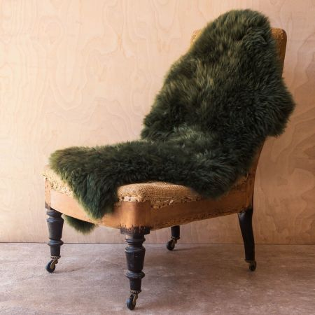 Single Moss Green Sheepskin