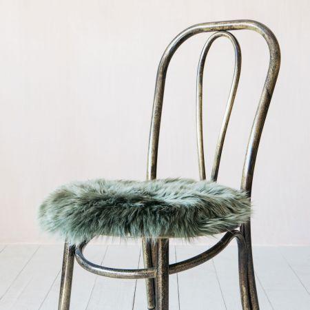 Round Moss Sheepskin Seat Pad